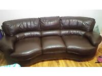 Dfs brown real leather curved corner sofa