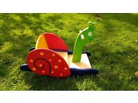Wooden rocking snail ride on toy