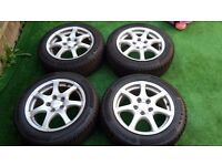 ANZIO Alloy wheels 5x112 7Jx16 ET42 with nearly new winter tyres