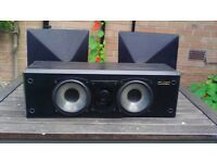 MISSION SURROUND SOUND SPEAKER SYSTEM. CENTRE BOX ALSO WALL MOUNTED OR FREE STANDING BACK SPEAKERS