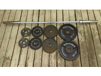 *Olympic 6ft Evinco Barbell & Olympic Weights plates set 82.50 kgs total*