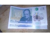 New five pound notes in sequence