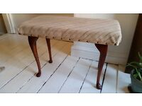 Vintage Vanity Stool With Cushioned Seat and Dark Curved Wooden Legs