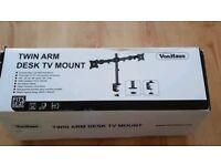 Twin arm desk tv mount