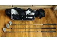 Slim golf bag and 3 clubs: 6 iron, 9 iron & sand wedge