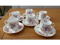 Royal Crown Derby Posies Six Coffee Cups and Saucers
