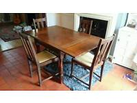 Antique Oak Extendable Dining Table + Chairs, Shabby Chic, Upcycle