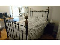 Vintage/Victorian style black & brass metal bed frame (double) with free mattress!