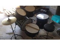 MIRAGE RAVEN ACOUSTIC STARTER DRUM KIT- £150 - Set up ready - Great condition Original price - £200