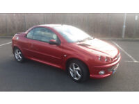 2004(04)PEUGEOT 206CC 1.6 MET RED,LOW MILES,LONG MOT,LEATHER SEATS,CLEAN CAR,GREAT VALUE