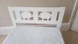 White KRITTER IKEA kids bed frame with slatted bed base (mattress included)
