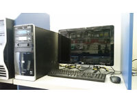 HP PC SET, AMD QUAD CORE 2.20 GHz, 4GB RAM, 1000GB HDD, DVD, card reader, windows 7, 20'' monitor