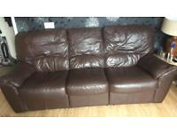 2 x 3 brown leather recliner sofas