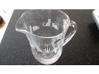 Fine Crystal Glass Jug with Cat pattern