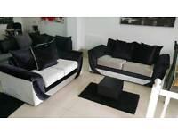 Ex Display 3+2 Black and Silver Crush Velvet Sofa
