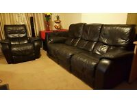 Black leather sofa&armchair electric recliner