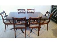 Mahogany Extendable Dining Table and 6 Chairs