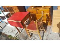 Vintage Retro Red 1950s 60s Formica Drop Leaf Dining Table & Chairs Modernist