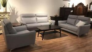 Real Leather Grey Sofa Set | Furniture Sale (SK03)