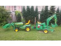 John deere 455 ride on mower tractor mini loader digger powerfab 125 v5c