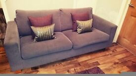 Grey satee with cushions ,rug, standing lamp