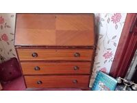 wooden bureau writing table chest of drawers