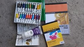 Painting set - Acrylic paints, paper, and palette . All barely used, full pads and full paint tubes