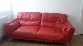 Red Italian Leather Sofa with Armchair