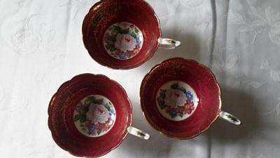 Bone China Royal Stafford Cups  Red and Gold  'Empress' Pattern VGC HTF