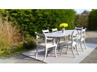 Large, Extending Vintage Dining Table & 6 Chairs. Shabby Chic,Paris Grey. Delivery Available.