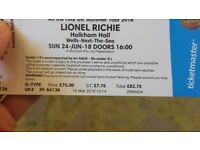 2x tickets to Lionel Richie at Holkham Hall on 24th June