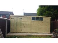 16X8 Tongue and Groove pent style work shop - timber floor and roof..