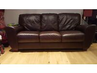 Brown leather sofa 3&2