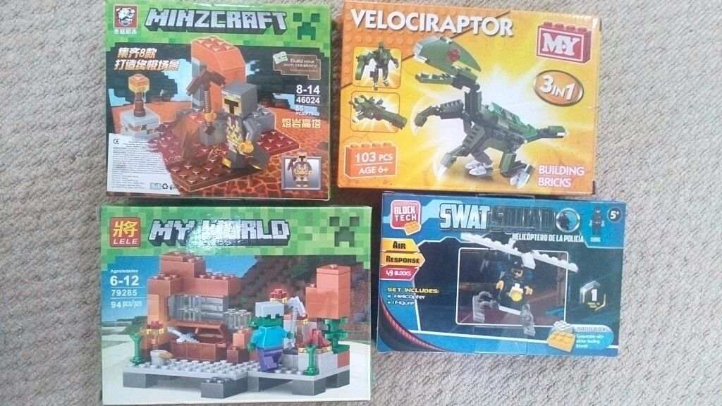 Minecraft Blocks, Swat Squad and Velociraptor(Not Lego)