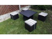 BRAND NEW BLACK RATTAN GARDEN FURNITURE