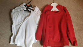 2 school jumpers and 3 white polo shirts