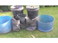 GARDEN PLASTIC BINS PLUS 3 POTATO GROW BAGS
