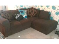 Brown fabric corner sofa for sale very good condition. Looking for quick sale as moving home.