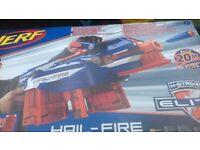 Nerf gun hail fire , has tactical rails,advanced handle ,rotating dart rack and motorized blasting