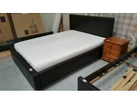 Ex stevensons leather king-size bed & memory foam mattress in vgc can deliver 07808222995