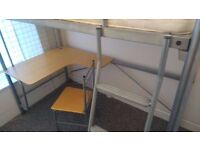 Bunk bed + desk with mattress and chair
