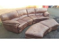 Cute brown real leather curved sofa and 2 footstool,or use as a sofa bed, used, can deliver