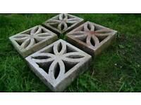 Decorative concrete leaf blocks x4