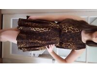 Leopard Print Skater Dress with cut-out back. Size 12. Great Condition. £5