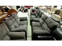 2 x 3 seater Black & grey cord recliners