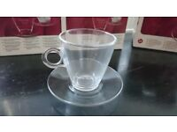 Set of 6 brand new stylish clear coffee glasses with saucers