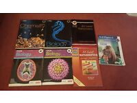 A level textbooks- Biology, Chemistry, Physics and Maths