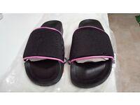 Black & Pink Workout Sliders/Beach Sandals Size 5/38