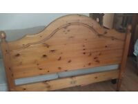 Pine Double bed frame and immaculate orthopaedic mattress