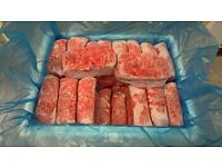 DOG FOOD FROZEN RAW MINCE, various flavours 500g blocks starting from 0.42p per block
